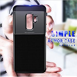 MOBISTYLE Hybrid Shockproof PC + TPU Anti-Slip Back Cover Case for Samsung Galaxy s9 Plus (Black)
