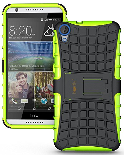 Heartly Flip Kick Stand Spider Hard Dual Rugged Armor Hybrid Bumper Back Case Cover For HTC Desire 820 820S 820Q 820G+ Plus Dual Sim - Great Green