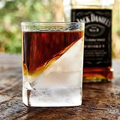 Homezone Whiskey und Scotch Glas mit Eis Form Keil Gin Brandy Schnaps Likör Bourbon Eis Trinken Glas bar Accessoires Geschirr Modern Elegant Luxus Trinkglas