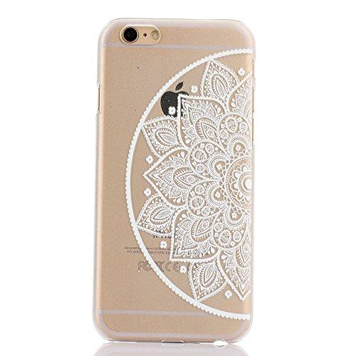 iPhone 6 Plus / 6S Plus Custodia Cover , Keyihan Henna Mandala Fiore Protettiva Caso in Dura Plastica per Apple iPhone 6 Plus e iPhone 6S Plus (Acchiappasogni Dream Catcher) Sinistra metà Mandala