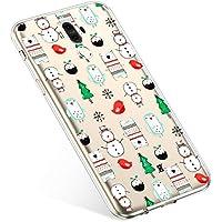 Uposao Handyhülle Huawei Mate 9 Schutzhülle Silikon Transparent Durchsichtig Handyhülle Schutzhülle TPU Dünn Handytasche Etui Case Cover,Schneemann Baum