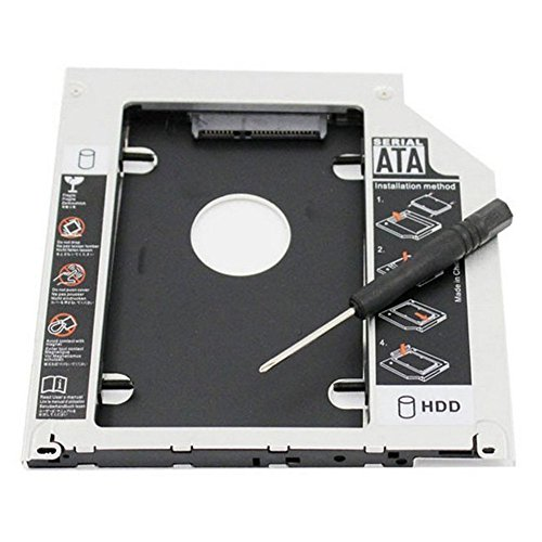 RGBS Festplatten-Caddy Tray 2nd HDD SSD Kit, kompatibel mit (2,5 Zoll) 9,5 mm, SATA HDD SSD 2nd HDD Adapter für Apple MacBook Pro, Unibody 13 15 17 SuperDrive, DVD-Laufwerk