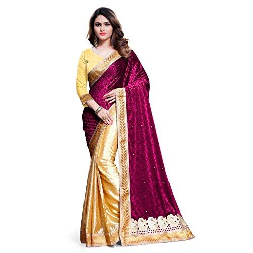 KAVVYA FASHION Women's Velvet Saree With Blouse Piece (Kavvyavlb10_Beige & Pink)