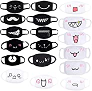 Oexper 18 Pack Anime Mouth Masks Unisex Cute Cotton Face Mask Cartoon Kawaii Anti-dust Muffle Mask for Kids Te