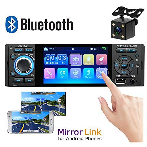 Camecho Bluetooth Autoradio 10,2 cm kapazitiver Touchscreen Single DIN Auto Stereo FM Radio Receiver mit USB/AUX-in/SD-Kartenanschluss Android Phone Mirror Link + Rückkamera -