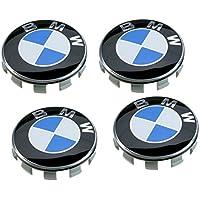 4centros de rueda de BMW, 68mm, colores azul y blanco, para tapacubos, con logotipo y sigla