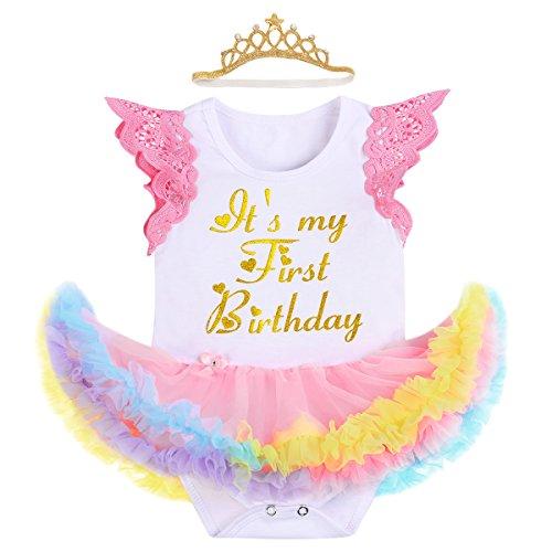 FYMNSI Es ist Mein Erster Geburtstag Baby Mädchen 1 Jahr Outfit Einhorn Regenbogen Tüll Tütü Prinzessin Body Kleid Strampler + Stirnband Set für Geburtstagsparty Fotoshooting Fotografie Geschenk (Mein Tutu-outfit Halloween Erstes)