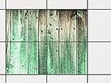 creatisto Fliesenspiegel Dekorationssticker | Fliesen-Sticker Aufkleber Folie selbstklebend Bad renovieren Küche Bad Ideen | 25x20 cm Design Motiv Plaue Planken - 4 Stück