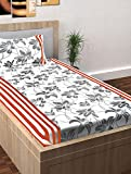 Story@Home 208 TC 100% Cotton Spark Collection Floral Pattern 1 Single Bedsheet with 1 Pillow Cover - White