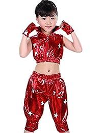 XFentech Niños Niñas Sin Mangas Moderno Jazz Hip Hop Traje de Baile  Chaqueta Pantalones Ropa Dancewear 97a68797f5a