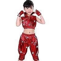 BOZEVON Niños Niñas Sin Mangas Jazz Moderno Hip Hop Traje de Baile Chaqueta  Pantalones Dancewear Ropa 67a23d75a68