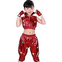 e01f9fafe054e XFentech Niños Niñas Sin Mangas Moderno Jazz Hip Hop Traje de Baile  Chaqueta Pantalones Ropa Dancewear