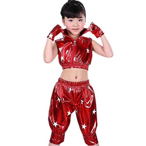 hen Jungen Zweiteilig Jazz Hip Hop Kostüm Jacke & Hosen Moderne Performance Kleid Dancewear, Rot, EU 140=Tag150 (Hip Hop Tanz Kostüm Für Jungen)