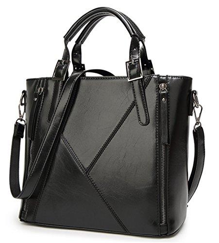 Xinmaoyuan Borse donna Borsetta tracolla messenger bag cera Olio di cucitura della pelle Borsa da donna Nero