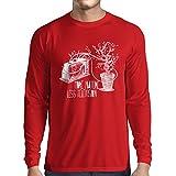 N4325L T-Shirt mit Langen Ärmeln Mehr Natur (Large Rot Mehrfarben)