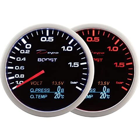 DEPO Racing 60mm. Boost Turbo volt oil pressure and oil temperature gauge 4 in 1 (BAR and C)