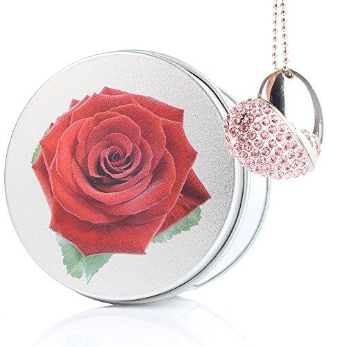 Rose flower chiavetta usb cuore pink gioielli diamante cristallo ciondolo pendrive memoria usb flash drive 2,0 memory stick, idee regalo originali, figurine 3d, archiviazionearchiviazionearchiviazione dati usb gadget 8 gb/16 gb/32g/64gb