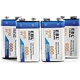 EBL 9Volt Block 600mAh wiederaufladbare Li-ion Akku, höchste Leistung Lithium-ion-Batterien, geringe Selbstentladung 4 Stück