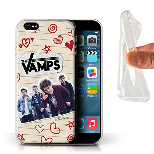 Offiziell The Vamps Hülle / Gel TPU Case für Apple iPhone 6+/Plus 5.5 / Pack 5Pcs Muster / The Vamps Doodle Buch Kollektion Rot Stift