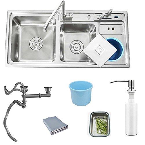 HomeLava Küchenspüle 304 Edelstahl, mit Abtropffläche und Abtropfgestell, mit Seifenspender, Wasserhahn nicht im Lieferumfang enthalten -