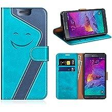 Mobesv Smiley Coque Cuir Samsung Galaxy Note 4 Etui Housse en Cuir Portefeuille avec La Fonction Stand pour Samsung Galaxy Note 4 (Aqua/Bleu Foncé)