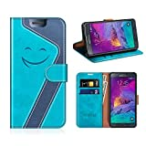 MOBESV Smiley Custodia in Pelle Samsung Galaxy Note 4, Custodia Magnetica Samsung Note 4 Cover Libro/Portafoglio Porta per Cellulare Samsung Galaxy Note 4, Aqua/Blu Scuro