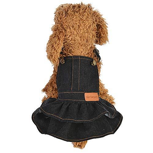 YWLINK Hunde Overall Kleidung Puppy Katze Pure Color Denim Kleid Haustier-Hundekleidung Gurt Kleid Prinzessin Kleid(Schwarz,S)