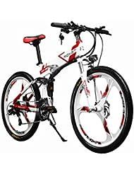 électrique pliant Vélo de montagne pour homme pour vélo VTT Rt860250W * 36V * 8ah 66cm double Suspension 21speed Shimano Dearilleur LG batterie Cell Double Frein à disque White-red
