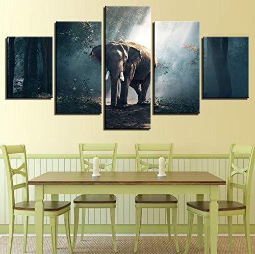 shiyusheng Lienzo Moderno Impreso HD Sala de Estar Fotos 5 Panel Elefantes...
