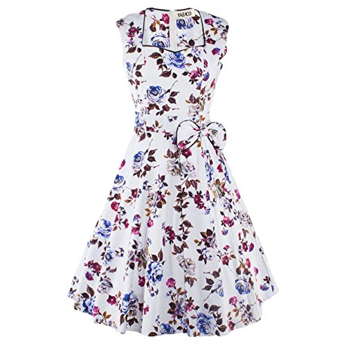 Frauen Vintage 1950 's Audrey Hepburn Stil Retro Swing Rockabilly Abendkleid (yazaco) White+Purple
