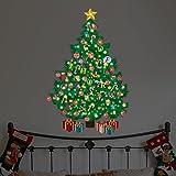 Wallflexi Natale Decorazioni murali adesivi da muro 'fosforescente a forma di albero di Natale con lettere dell' alfabeto decalcomanie soggiorno bambini scuola materna ristorante hotel Home Office Décor, multicolore