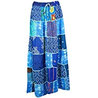 Mogul Interior Women Gypsy Long Skirts Blue Patchwork Printed Rayon A-Line Maxi Skirt S/M