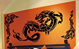 WANDTATTOO DRACHE TRIBAL WANDAUFKLEBER WANDSTICKER WALLPRINT (Größe Drache 56 x 126 cm , Größe Tribals 75 x 36 cm) Nr.130