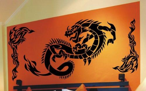 Preisvergleich Produktbild WANDTATTOO DRACHE TRIBAL WANDAUFKLEBER WANDSTICKER WALLPRINT (Größe Drache 56 x 126 cm , Größe Tribals 75 x 36 cm) Nr.130