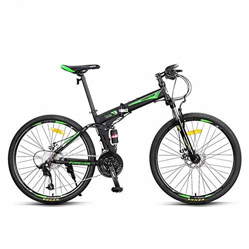 YEARLY Berg klappräder, Erwachsene klappräder Geschwindigkeit Männlich Off-Road- Doppelter Schock Klappräder-grün 26inch