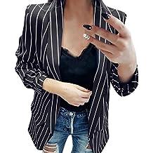 Longra Damen Blazer Tailliert Elegante Slim Fit Business Büro Kurzjacke Anzug  Sakko Gestreiften Kurzblazer Mantel Jacke 746ce8dc93