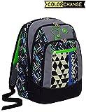 Zaino scuola advanced SEVEN - WIDGET - cambia colore - Nero Verde - 30 LT - inserti rifrangenti