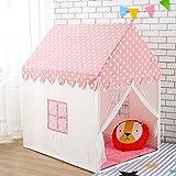 Wonder Space Kinder Spielhaus Zelt - 100% natürliche Baumwolle Segeltuch Groß Schloss Spielen Zelte für Kinder, tragbar für Indoor und Outdoor Drinnen und draußen Spaßspiele, Kommt mit Bodenmatte (Rosa)