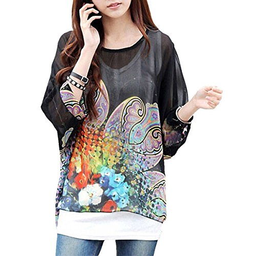QQI Donna Bohemian Stampa Floral Camicetta 3/4 Sleeve Chiffon Blouse Off Shoulder Tunica Batwing T-shirt Tops color20