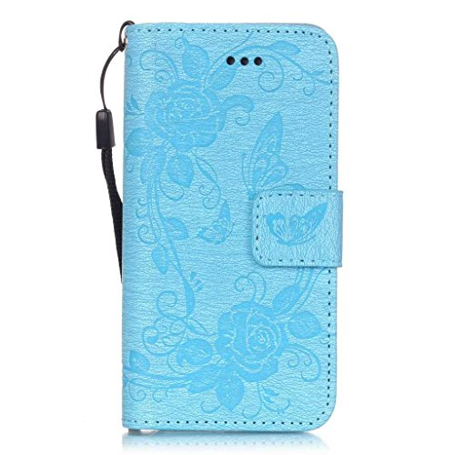 Uming® Embossing Prägung Blumen Blüte Schmetterling Muster PU Kasten Fall Holster Abdeckung Hülle Case ( HotPink Butterfly - für IPhone 5S 5 5G SE IPhone5S IPhoneSE ) Artificial Künstlich Flip mit Bra Light Blue Butterfly