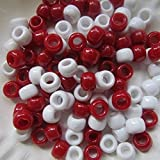 Bastelperlen 100 Stück, 9 mm x 6 mm rot/weiß, für Armband etc., Acryl, rund