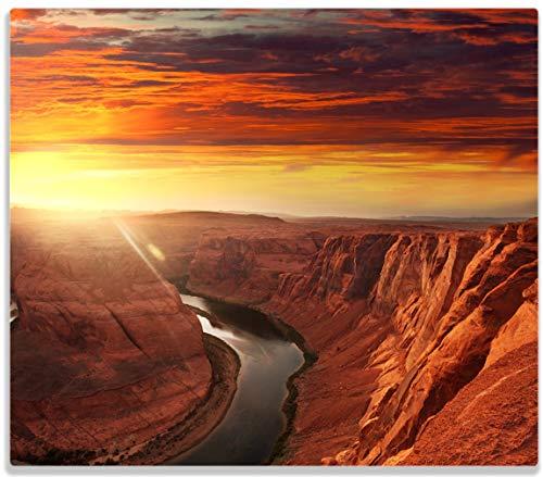 Wallario Herdabdeckplatte/Spritzschutz aus Glas, 1-teilig, 60x52cm, für Ceran- und Induktionsherde, Grand Canyon bei Sonnenuntergang
