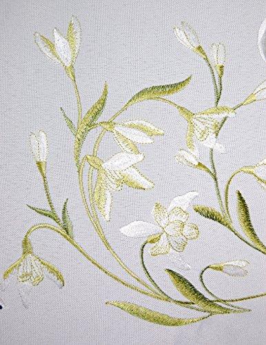 ZAUBERHAFTE Kissenhülle 40x40 cm eckig FRÜHLING weiß Schneeglöckchen grün gestickt Polyester Kissenbezug FRÜHLING Ostern (Kissenhülle 40x40 cm)