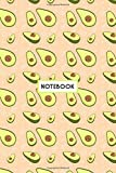 "Notebook: Kawaii Green Avocados Peach, Wide Ruled 110 pages (6.14"" x 9.21"")"