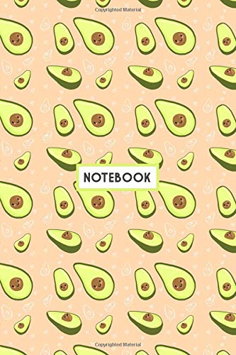 Notebook: Kawaii Green Avocados Peach, Wide Ruled 110 pages (6.14
