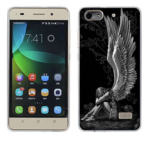 Huawei Honor 4C Hülle Case, Fubaoda [Müder Engel] Ultra Dünn Handyhülle Cover Soft Premium-TPU Durchsichtige Schutzhülle Backcover Slimcase für Huawei Honor 4C (G Play Mini)