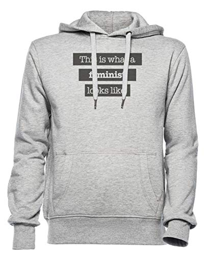 This Is What A Feminist Looks Like Hombre Mujer Unisexo Sudadera con Capucha Gris Tamaño S - Women's Men's Unisex Hoodie Sweatshirt Grey