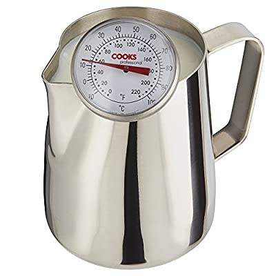Milk Frothing Barista Style Latte Jug & Thermometer, Stainless Steel for Coffee Machine by Cooks Professional