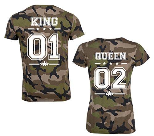 SE-creation KING QUEEN Partner Look Camouflage T-Shirt mit Wunschzahl | als Paar für Damen und Herren | Jungen und Mädchen | Army Tarn-Muster Design | für Pärchen als Hochzeit - (Krone King Kinder)