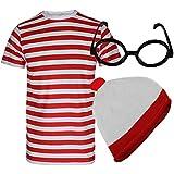 Global Fashion - Disfraz de Wally (camiseta de rayas rojas y blancas, gorro y gafas)